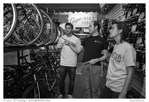 Bicycle shopping. Stanford University, California, USA (black and white)