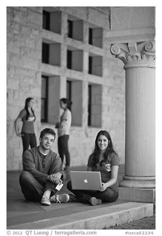 Stanford students. Stanford University, California, USA (black and white)