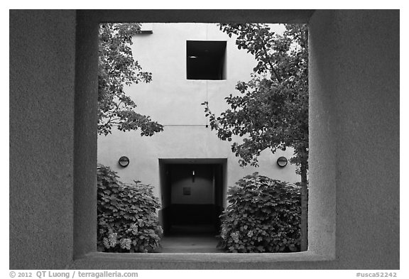 Adobe style architecture, Schwab Residential Center. Stanford University, California, USA (black and white)