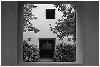 Adobe style architecture, Schwab Residential Center. Stanford University, California, USA ( black and white)