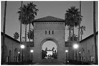 Gates at dusk, Main Quad. Stanford University, California, USA (black and white)