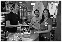 Credit card transaction, Campus Bike Shop. Stanford University, California, USA ( black and white)