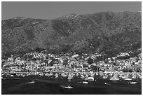 Avalon and mountains seen from Descanso Bay, Catalina. California, USA (black and white)