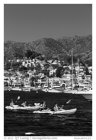 Sea kayaking in Avalon harbor, Catalina Island. California, USA (black and white)