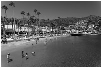 Children in water, Avalon beach, Catalina Island. California, USA (black and white)