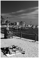 Women sunning on beach near harbor, Avalon, Catalina. California, USA (black and white)