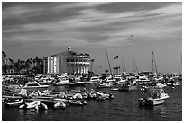 Harbor and casino, Avalon Bay, Santa Catalina Island. California, USA (black and white)