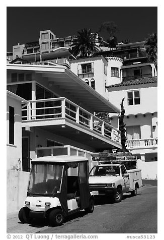 Golf cart and hillside houses, Avalon, Santa Catalina Island. California, USA (black and white)