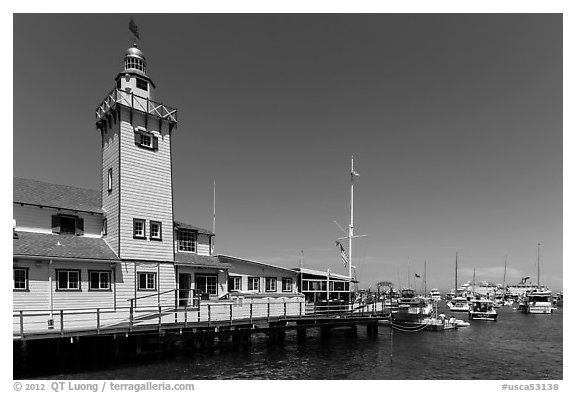 Yacht club tower and harbor, Avalon, Santa Catalina Island. California, USA (black and white)