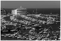 Harbor and casino from above, Avalon Bay, Santa Catalina Island. California, USA (black and white)