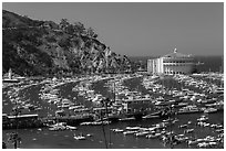Pier and Catalina Casino, Avalon Bay, Santa Catalina Island. California, USA (black and white)