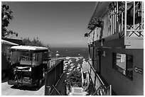 House and golf cart overlooking harbor, Avalon, Santa Catalina Island. California, USA (black and white)