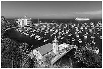 Yacht club, casino, harbor and cruise ship, Avalon, Catalina. California, USA (black and white)
