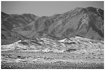 Distant view of Kelso Sand Dunes and Granite Mountains. Mojave National Preserve, California, USA ( black and white)