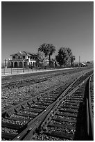 Railroad tracks and siding of Kelso. Mojave National Preserve, California, USA ( black and white)