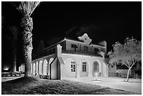 Kelso Depot at night. Mojave National Preserve, California, USA (black and white)