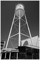 Water tower, Paramount Pictures lot. Hollywood, Los Angeles, California, USA ( black and white)