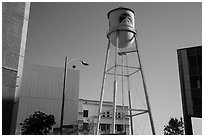 Water tower, old and new buildings, Studios at Paramount. Hollywood, Los Angeles, California, USA ( black and white)