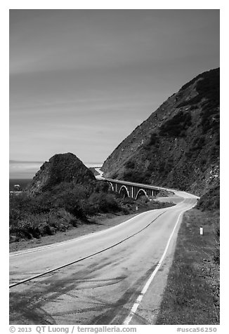 Highway 1 curve. Big Sur, California, USA (black and white)