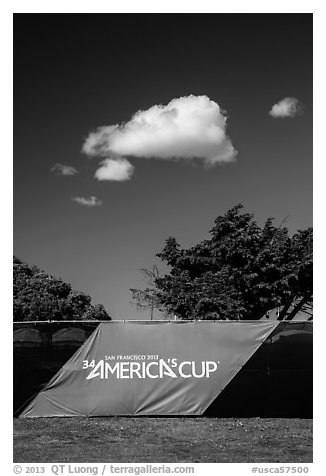 34th Americas cup sign, trees, and clouds. San Francisco, California, USA (black and white)