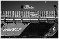 Americas cup empty bleachers from behind. San Francisco, California, USA ( black and white)