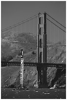 New Zealand Challenger America's cup boats and Golden Gate Bridge. San Francisco, California, USA (black and white)