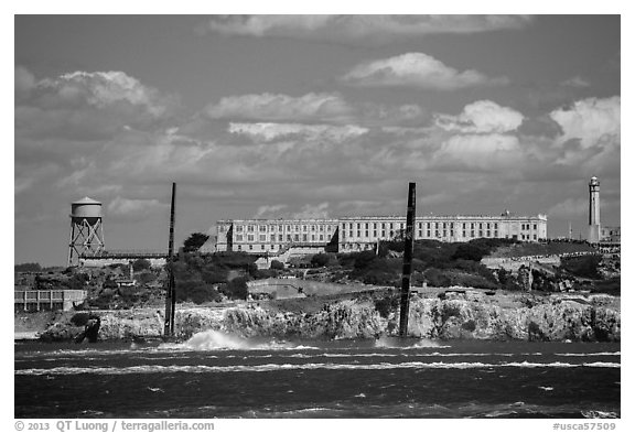 America's cup catamarans in front of Alcatraz Island. San Francisco, California, USA (black and white)
