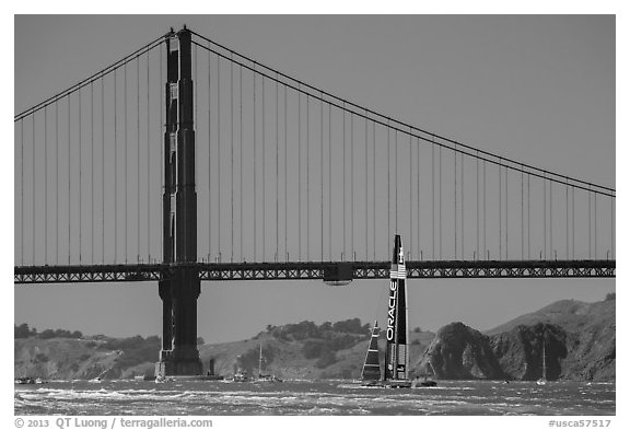 Oracle Team USA boat in front of Golden Gate Bridge during Sept 25 final race. San Francisco, California, USA