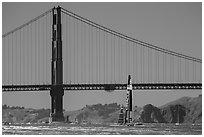 Oracle Team USA boat in front of Golden Gate Bridge during Sept 25 final race. San Francisco, California, USA ( black and white)