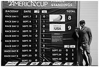 Man with patriotic gear standing next to final scoreboard. San Francisco, California, USA ( black and white)