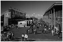 Spectators walking out of America's Cup Park. San Francisco, California, USA ( black and white)