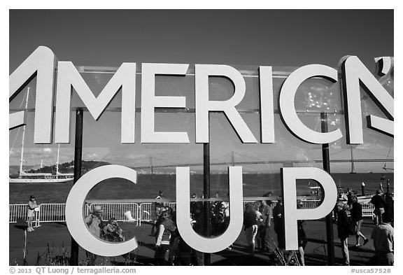 Bay Bridge seen through America's Cup log at America's Cup Park. San Francisco, California, USA (black and white)