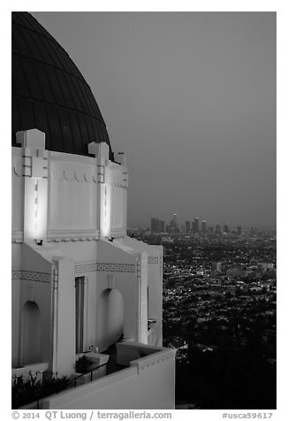 Griffith Observatory and downtown skyline at dusk. Los Angeles, California, USA (black and white)
