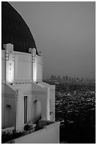 Griffith Observatory and downtown skyline at dusk. Los Angeles, California, USA ( black and white)