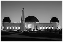 Griffith Observatory at dusk. Los Angeles, California, USA ( black and white)