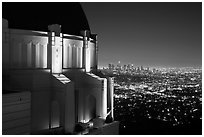 Griffith Observatory and downtown skyline at night. Los Angeles, California, USA ( black and white)