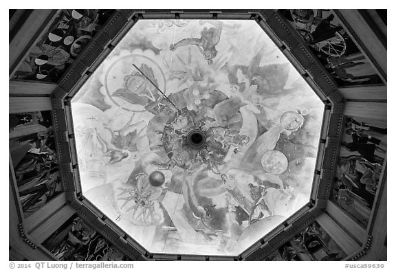 Art deco ceiling, Griffith Observatory. Los Angeles, California, USA (black and white)