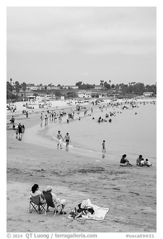 Beach on cloudy day, San Pedro. Los Angeles, California, USA (black and white)