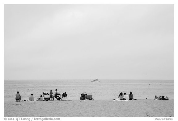 Overcast day at Cabrillo Beach, San Pedro. Los Angeles, California, USA (black and white)