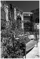 Red flowers and bench with pillows in shopping area. Beverly Hills, Los Angeles, California, USA ( black and white)