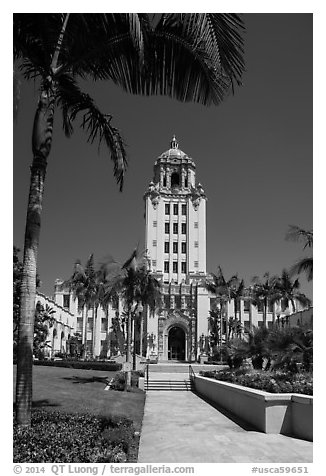 City Hall. Beverly Hills, Los Angeles, California, USA (black and white)