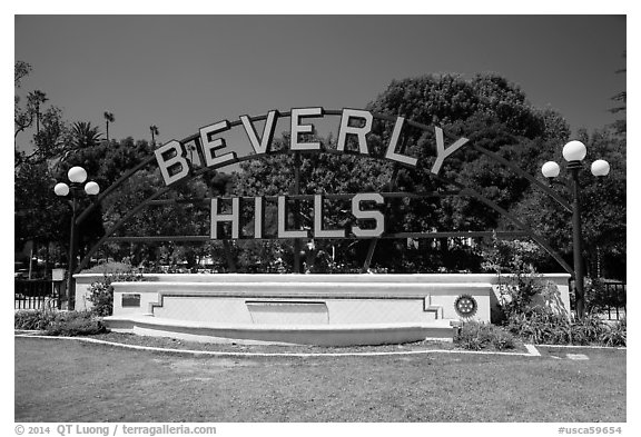 Berverly Hills sign in park. Beverly Hills, Los Angeles, California, USA (black and white)