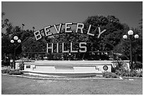 Berverly Hills sign in park. Beverly Hills, Los Angeles, California, USA ( black and white)