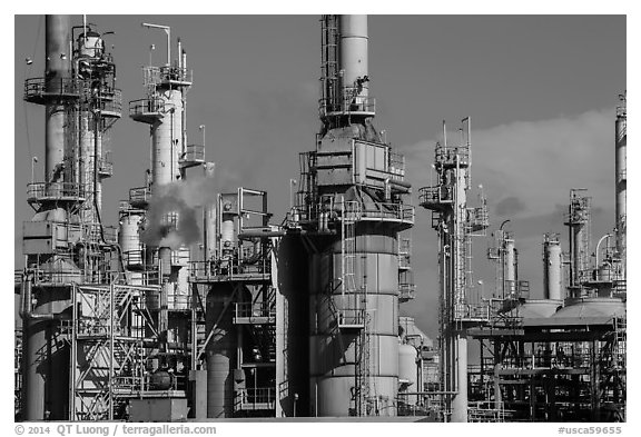 Oil refinery, Manhattan Beach. Los Angeles, California, USA (black and white)