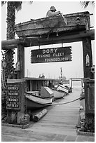 Gate to Dory Fishing Fleet. Newport Beach, Orange County, California, USA ( black and white)