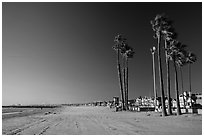 Deserted beach in winter. Newport Beach, Orange County, California, USA ( black and white)