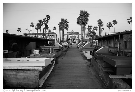 Dory Fishing Fleet market. Newport Beach, Orange County, California, USA (black and white)
