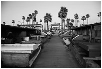 Dory Fishing Fleet market. Newport Beach, Orange County, California, USA ( black and white)