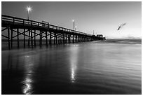 Newport Pier at sunset. Newport Beach, Orange County, California, USA ( black and white)