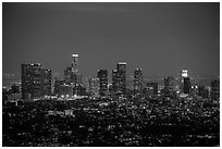 City Skyline at dusk. Los Angeles, California, USA ( black and white)